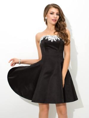 A-Line/Princess Applique Short/Mini Strapless Sleeveless Satin Cocktail Dresses