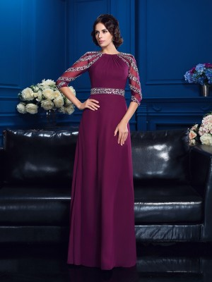 A-Line/Princess Beading Floor-Length Scoop 3/4 Sleeves Chiffon Mother of the Bride Dresses