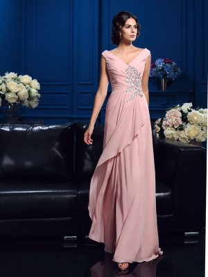 A-Line/Princess Beading Sweep/Brush Train V-neck Sleeveless Chiffon Mother of the Bride Dresses