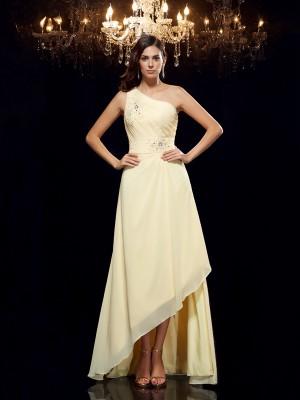 A-Line/Princess Beading Asymmetrical One-Shoulder Sleeveless Chiffon Dresses