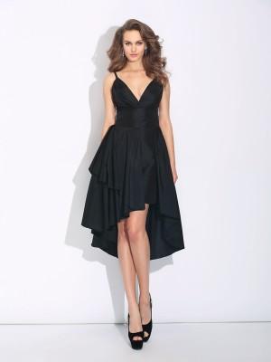 A-Line/Princess Ruffles Asymmetrical Spaghetti Straps Sleeveless Taffeta Dresses