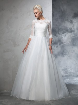 Ball Gown Applique Floor-Length Jewel 3/4 Sleeves Organza Wedding Dresses