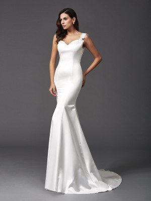 Trumpet/Mermaid Beading Sweep/Brush Train Straps Sleeveless Satin Wedding Dresses