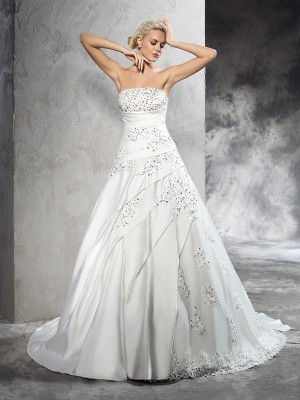 Ball Gown Beading Court Train Strapless Sleeveless Satin Wedding Dresses