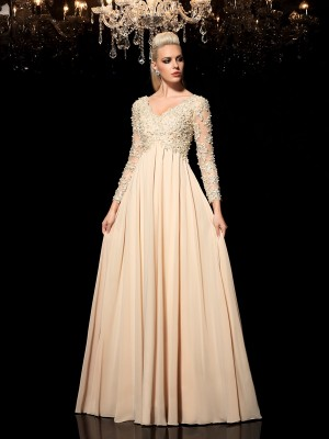 A-Line/Princess Applique Floor-Length V-neck Long Sleeves Chiffon Dresses