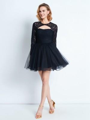A-Line/Princess Short/Mini Long Sleeves Lace High Neck Net Dresses