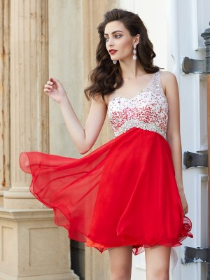 A-Line/Princess Short/Mini Sleeveless Beading One-Shoulder Chiffon Dresses
