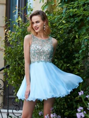 A-Line/Princess Short/Mini Sleeveless Beading Scoop Chiffon Dresses