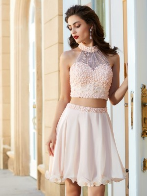 A-Line/Princess Short/Mini Sleeveless Beading Halter Chiffon Two Piece Dresses