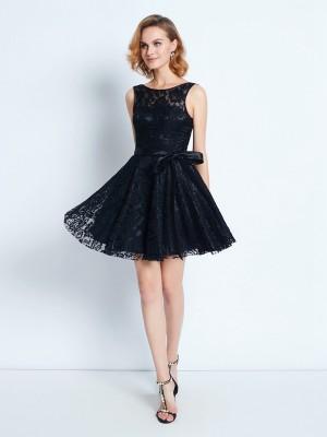 A-Line/Princess Short/Mini Sleeveless Sash/Ribbon/Belt Scoop Lace Dresses