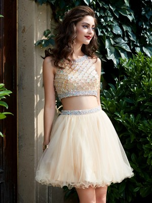 A-Line/Princess Short/Mini Sleeveless Beading Scoop Net Two Piece Dresses
