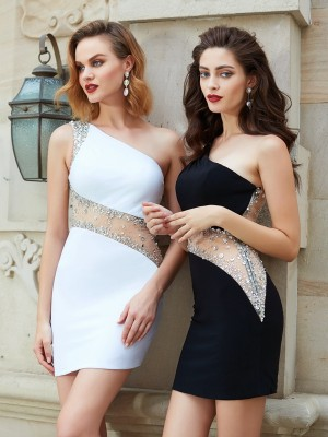 Sheath/Column Short/Mini Sleeveless Beading One-Shoulder Net Dresses