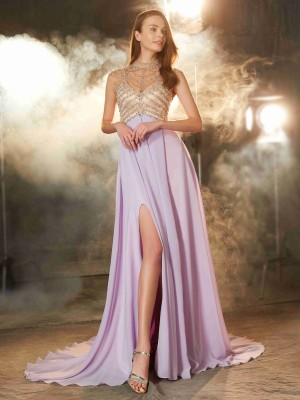 A-Line/Princess High Neck Sleeveless Chiffon Sweep/Brush Train Crystal Dresses