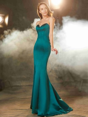 Trumpet/Mermaid Sweetheart Sleeveless Satin Sweep/Brush Train Ruched Dresses