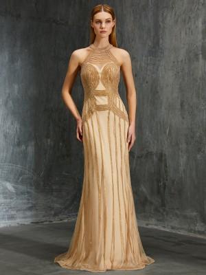 Sheath/Column High Neck Sleeveless Net Sweep/Brush Train Beading Dresses