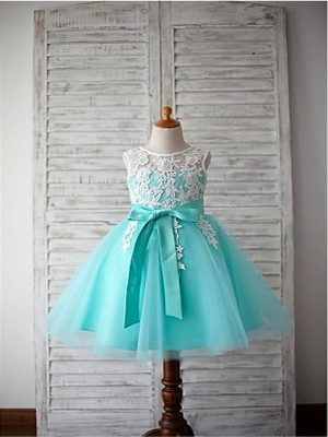 Ball Gown Sleeveless Tulle Knee-Length Bowknot Scoop Flower Girl Dresses