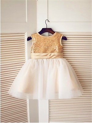 A-line/Princess Sleeveless Tulle Knee-Length Sequin Scoop Flower Girl Dresses