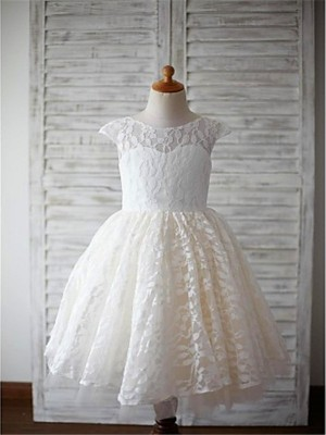 A-line/Princess Short Sleeves Lace Tea-Length Lace Scoop Flower Girl Dresses