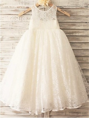 A-line/Princess Sleeveless Lace Ankle-Length Lace Scoop Flower Girl Dresses