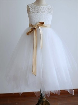 A-line/Princess Sleeveless Tulle Tea-Length Sash/Ribbon/Belt Scoop Flower Girl Dresses