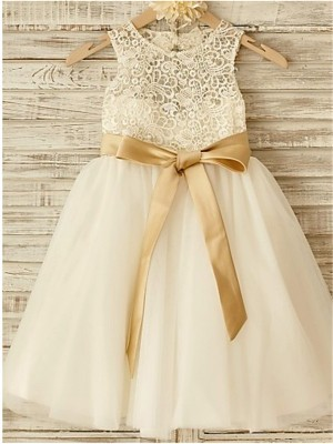 A-line/Princess Sleeveless Tulle Knee-Length Bowknot Scoop Flower Girl Dresses