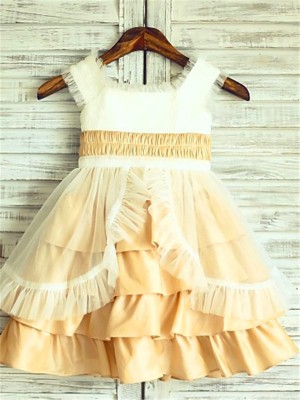 A-line/Princess Sleeveless Satin Tea-Length Layers Square Flower Girl Dresses