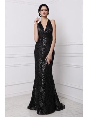 Sheath/Column Lace Lace Sleeveless Sweep/Brush Train V-neck Dresses
