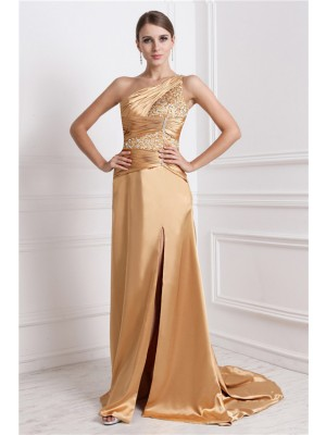 A-Line/Princess Beading Elastic Woven Satin Sleeveless Sweep/Brush Train One-Shoulder Dresses