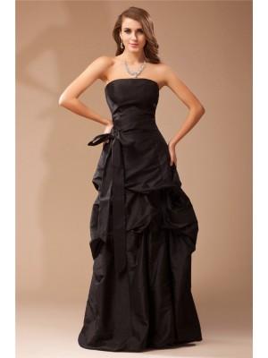 A-Line/Princess Ruffles Taffeta Sleeveless Floor-Length Strapless Dresses