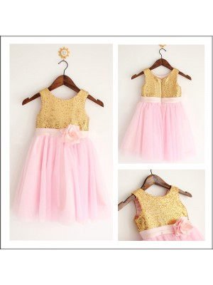 A-Line/Princess Tea-Length Tulle Sleeveless Scoop Sequin Flower Girl Dresses