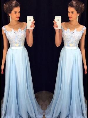 A-Line/Princess Sweep/Brush Train Chiffon Sleeveless Sheer Neck Applique Dresses