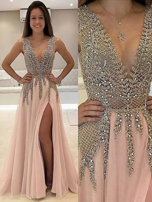 A-Line/Princess Floor-Length Tulle Sleeveless V-Neck Beading Dresses