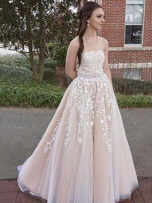 A-Line/Princess Floor-Length Tulle Sleeveless Strapless Applique Dresses