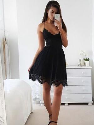 A-Line/Princess Sleeveless Lace Lace Short/Mini Spaghetti Straps Dresses