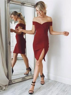 Sheath/Column Sleeveless Ruched Satin Short/Mini Off-the-Shoulder Dresses