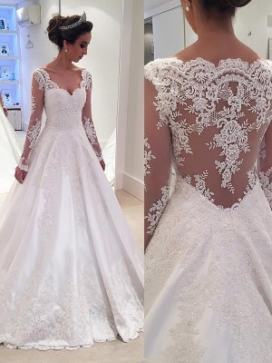 Ball Gown Court Train Satin Long Sleeves V-neck Lace Wedding Dresses