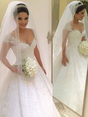 Ball Gown Floor-Length Tulle Sleeveless V-neck Beading Wedding Dresses