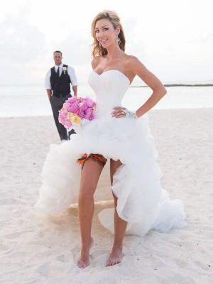 A-Line/Princess Asymmetrical Organza Sleeveless Sweetheart Wedding Dresses