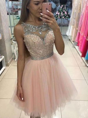 A-line/Princess Short/Mini Tulle Sleeveless Scoop Beading Dresses
