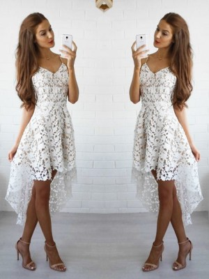 A-line/Princess Short/Mini Lace Sleeveless Spaghetti Straps Dresses