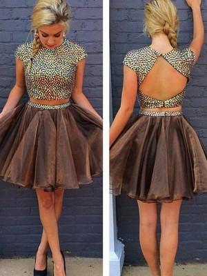 A-line/Princess Short/Mini Organza Sleeveless Scoop Beading Dresses