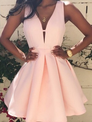 A-line/Princess Short/Mini V-neck Satin Sleeveless Dresses
