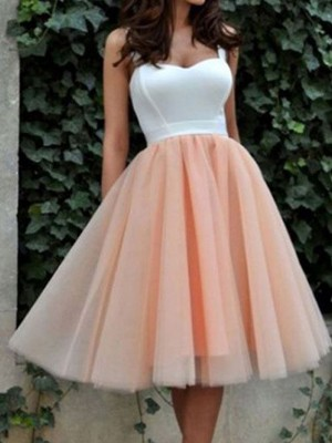 A-line/Princess Short/Mini Tulle Sleeveless Sweetheart Dresses