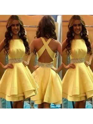 A-line/Princess Short/Mini Satin Sleeveless Scoop Beading Dresses