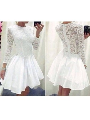 A-line/Princess Short/Mini Chiffon Long Sleeves Scoop Lace Dresses