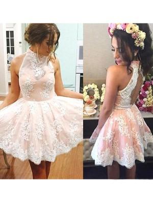 A-line/Princess Short/Mini Lace Sleeveless High Neck Dresses
