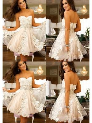 A-line/Princess Short/Mini Tulle Sleeveless Sweetheart Applique Dresses