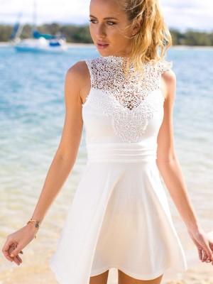 A-line/Princess Short/Mini Satin Sleeveless High Neck Lace Dresses