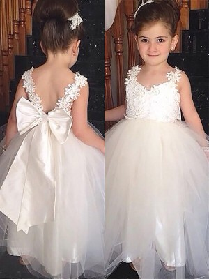 Ball Gown Floor-Length Tulle Sleeveless Sweetheart Bowknot Flower Girl Dresses