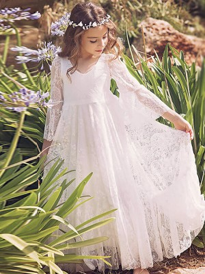 A-Line/Princess Floor-Length Lace Long Sleeves V-neck Flower Girl Dresses